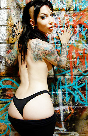 Goth Babe strips naked in punk bathroom