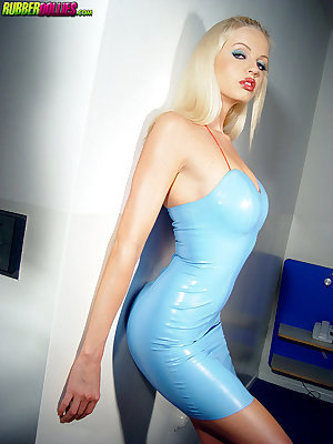 shaved blonde strips off blue latex fuck me dress